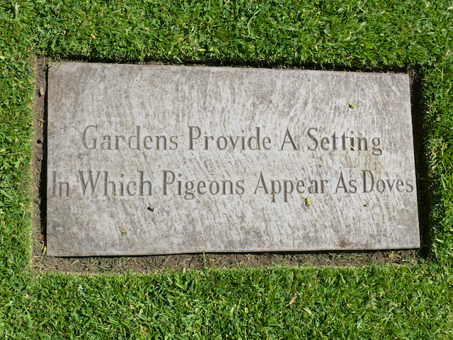 Gardens Provide a Setting in Which Pigeons Appear as Doves