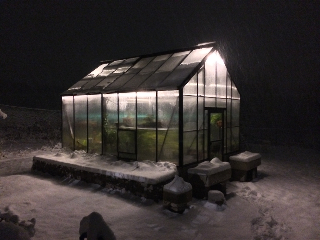 Greenhouse during snowstorm