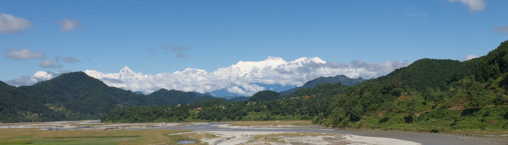 View of the mountains from the road between Pokhara and Kathmandu