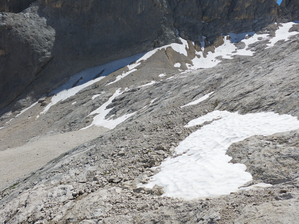 Barren looking landscape on Marmolada at 8500 ft.